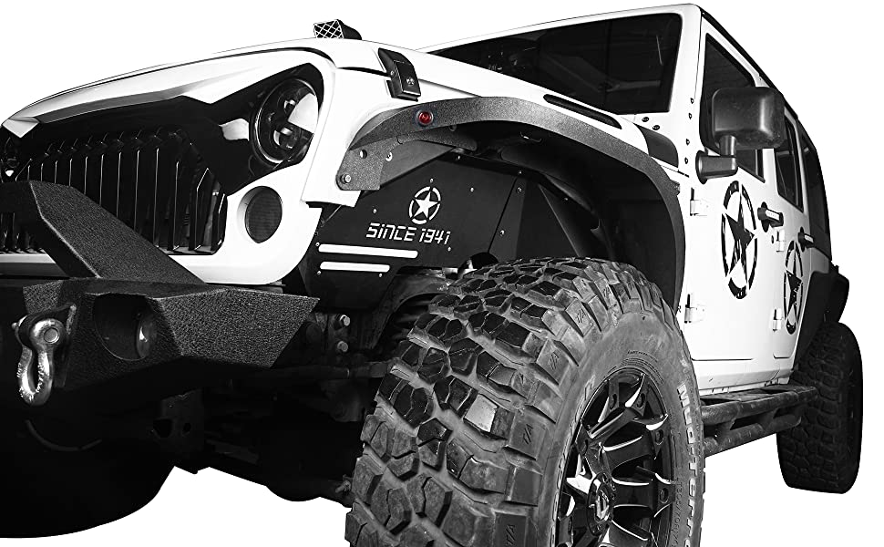 Hooke Road Front Steel Inner Fender Liners w/Five Star Logo for 07-18 Jeep Wrangler JK