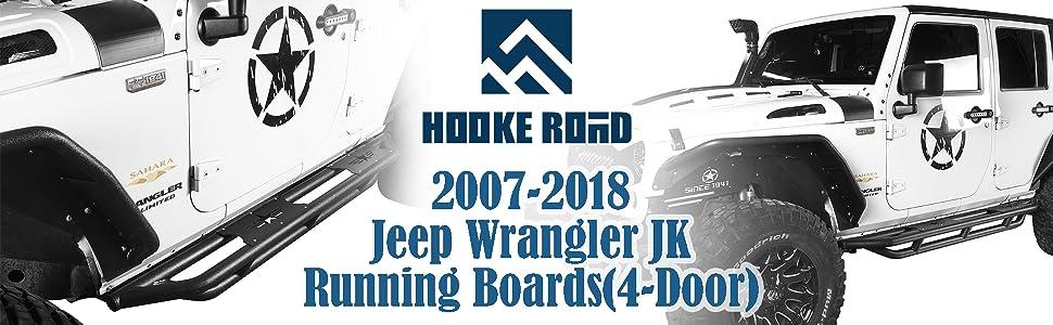 2007-2018 Jeep Wrangler Running Boards, Star Tubular Side Steps 4 Door Rails