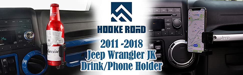 Jeep Wrangler Multi-Function Drink Cup Phone Holder Bolt-on Stand Bracket Organizer for 2007-2018 JK