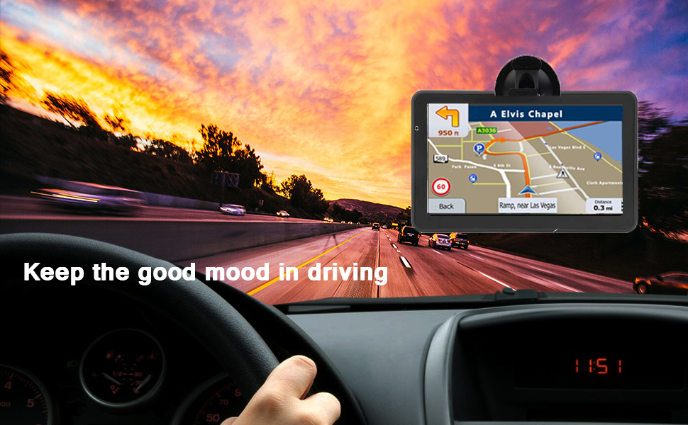 GPS Navigation for car,7 Inch GPS Navigation System, 8GB 256MB Car  Navigation, Touch Screen Real Voice Direction 2019 Latest Maps Free Updates