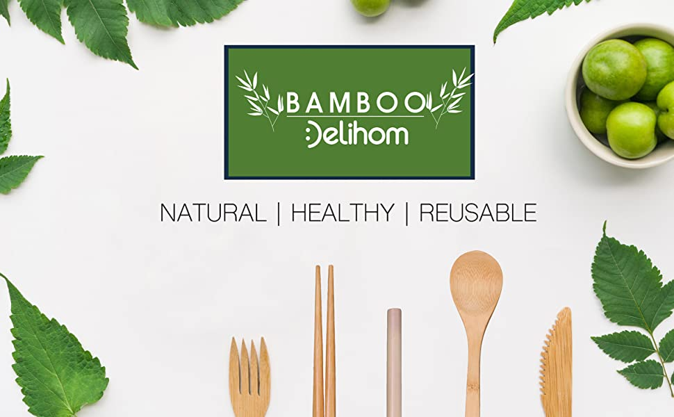 Bamboo  Travel Utensils with straw Reusable Travel Tableware Camping Cutlery