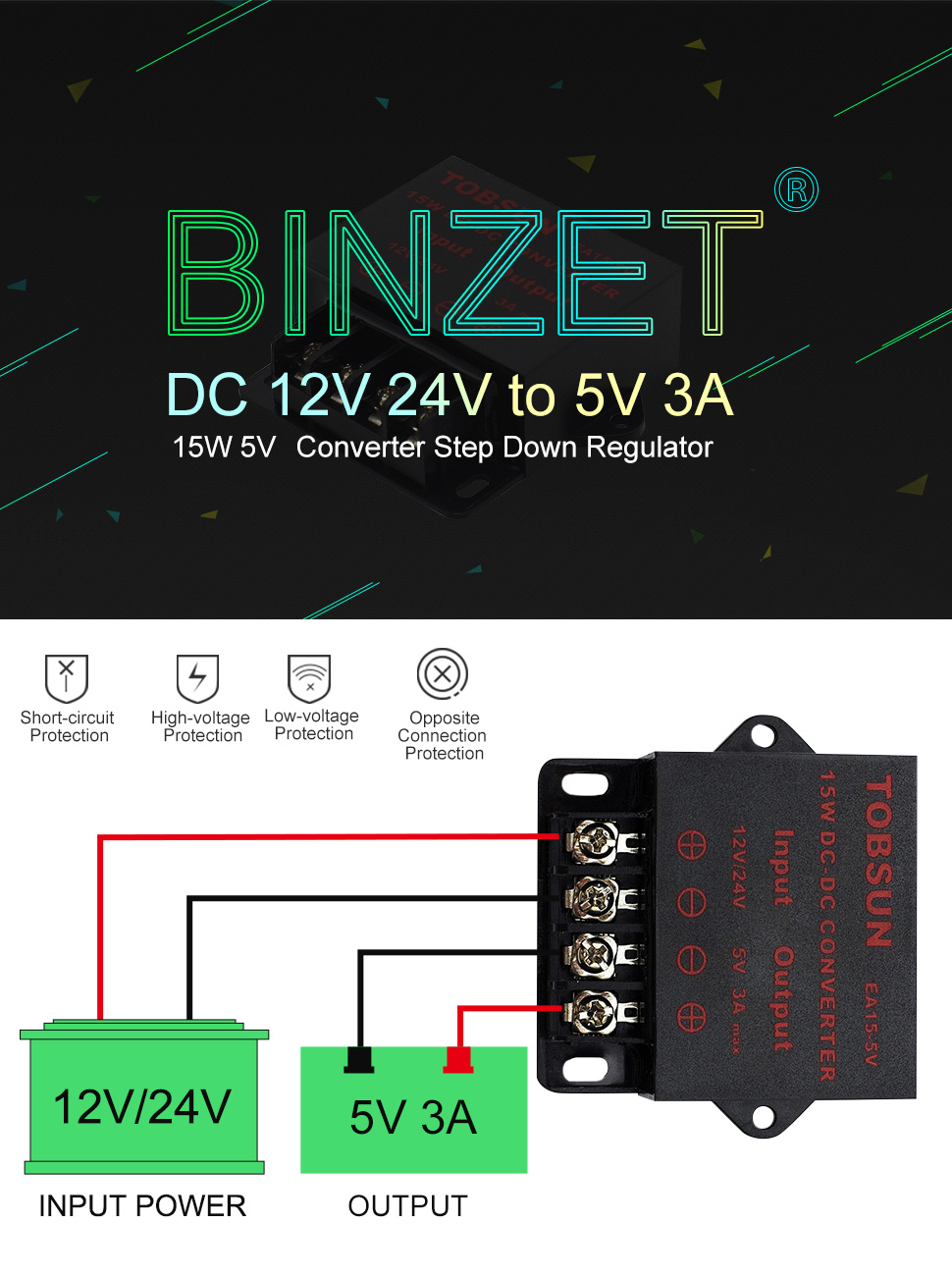 Binzet Dc Converter Step Down Regulator 5v Regulated Power Opamp Voltage With Overvoltage Protection Circuit 3a 15w Over Current Overheat Short And Automatic