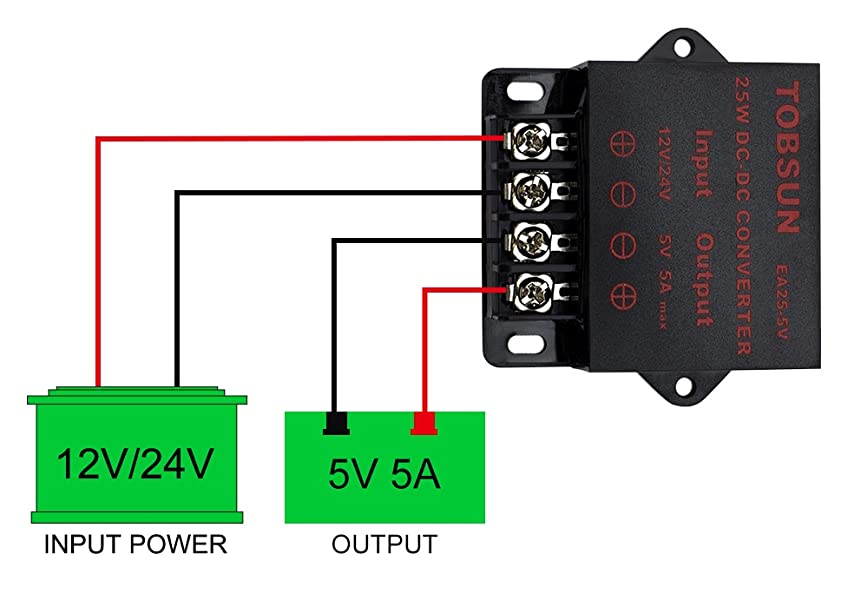 SuperNight DC 12V 24V to 5V 3A Power Converter Step Down Regulator Regulated Power Supply 15W Transformer Converter Buck Voltage Regulator