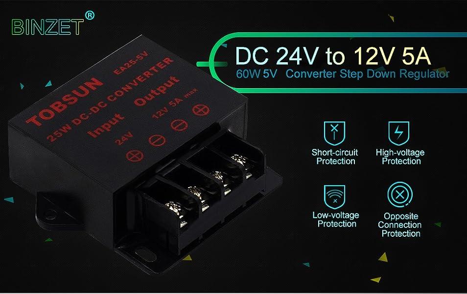 12 V a 6 V voltios convertidor Buck Convertidor reductor de m/ódulos reguladores de 6V 12V 3A voltios tablero del inversor con el adaptador de conector dual micro USB