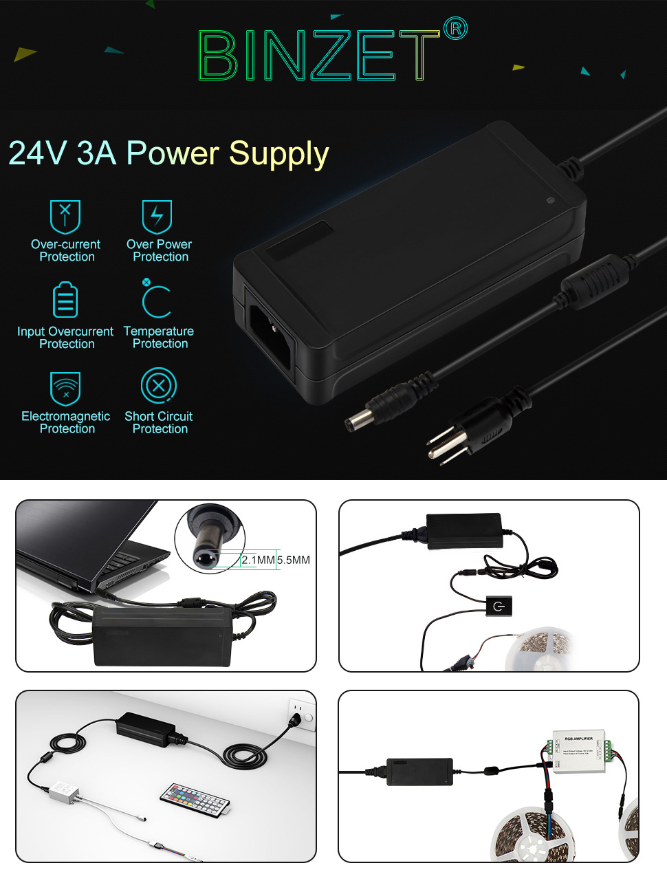 Binzet Ac To Dc 24 Volt 3 Amp Power Supply Adapter 24vac 24vdc Source Abuse Report Schematic High Quality And New For Led Strip String Wireless Router Adsl Cats Hub Switches Security Cameras Audio Video Etc