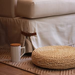 rattan footstool ottoman pillow for foot