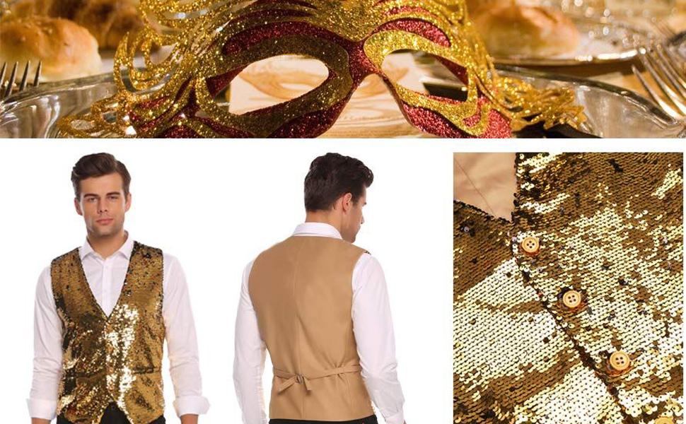 Jinidu Men's Slim Fit Sequins Vest V-Neck Shiny Halloween Party Dress Suit Stylish Vest Waistcoat