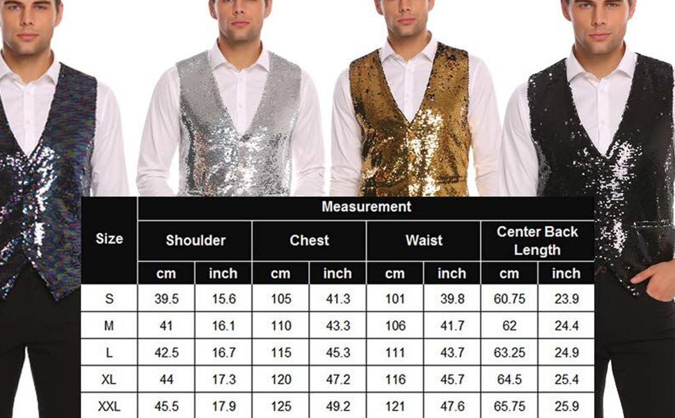Men's Slim Fit Sequins Vest V-Neck Shiny Halloween Party Dress Suit Stylish Vest Waistcoat