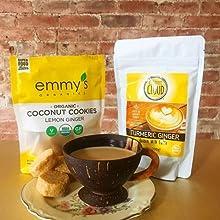emmys organic coconut cookies lemon ginger dairy free vegan golden milk coconut milk turmeric latte