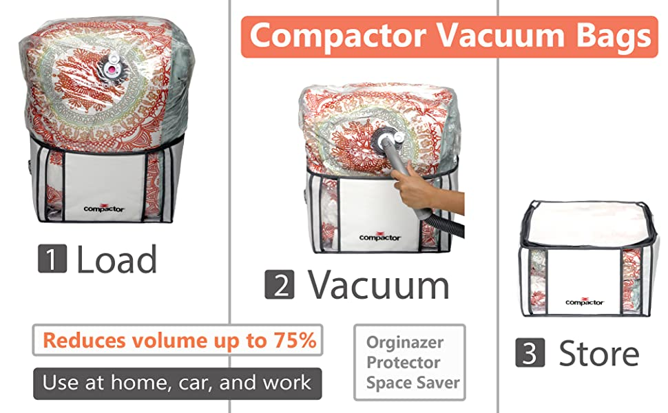 easy to use the compactor vacuum storage systems are an allinone vacuum storage bag solution with a built in protective tote to create a simple
