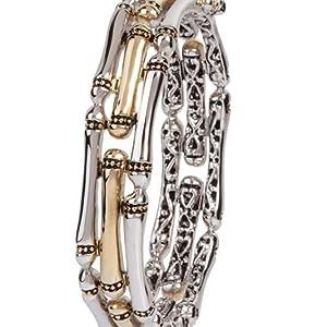 Canias Three Row Two-Toned Hinged Bangle Bracelet