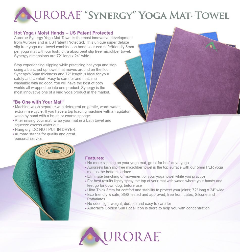 Aurorae Yoga Synergy Yoga Mat Towel Combination In: Amazon.com : Aurorae Synergy 2 In 1 Yoga Mat; With
