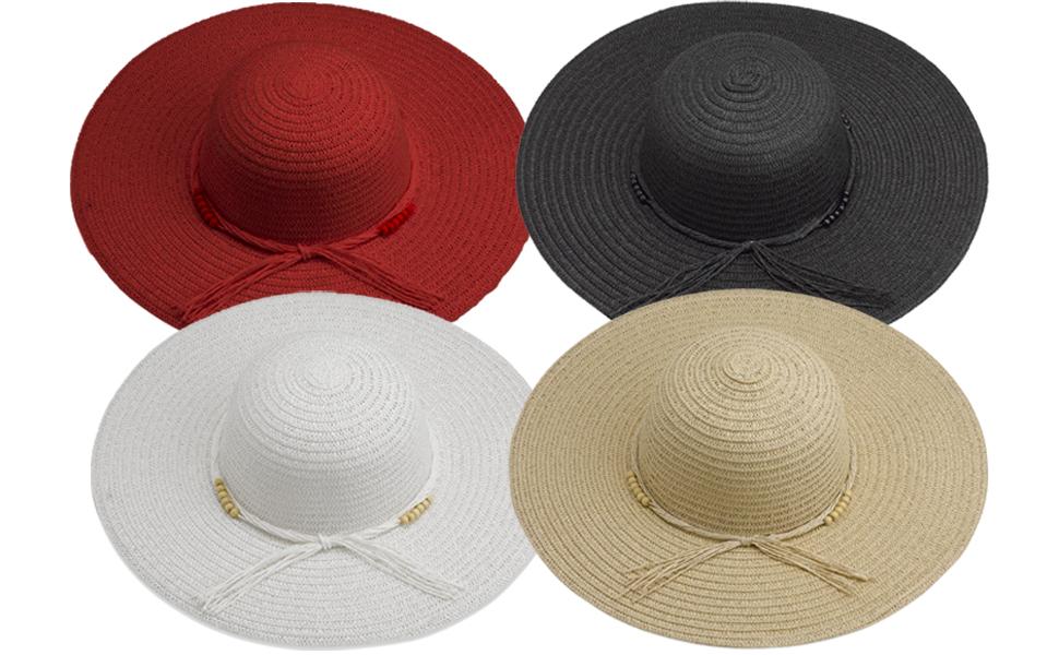 2a013e2b738c51 Debra Weitzner Beach Straw Floppy Hat for Women Wide Brim - Sun ...