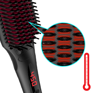 Enhanced Hair Straightener Brush by MiroPure, 2-in-1 Ionic Straightening Brush with Anti-Scald Feature, Auto Temperature Lock & Auto-Off Function ...
