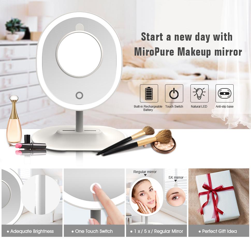 MIROPURE RM223-DL Makeup Mirror White - HK Shared Dream