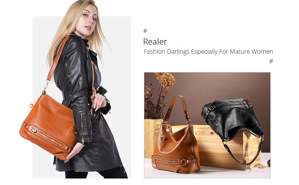 27303e9269 Realer Genuine Leather Handbags for Women Large Designer Ladies Shoulder Bag  Bucket Style