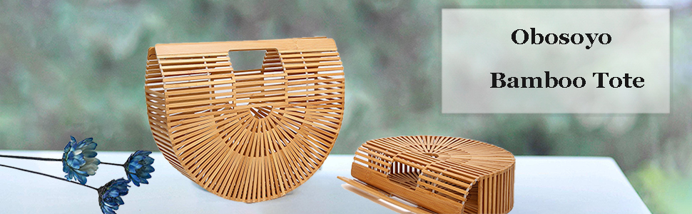 4a69ad5f6 Amazon.com: Obosoyo Women's Handmade Bamboo Handbag Summer Beach Sea ...