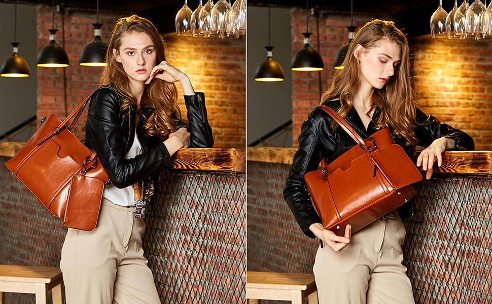 Womens Satchel Hobo Stylish Top Handle Tote PU Leather Handbag Shoulder Purse
