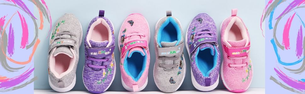 EIGHT KM Toddler//Little Kids Girls Shoes Lightweight EKM7006 Embroidered Sneakers Azalea Flower Grey Size 13 US