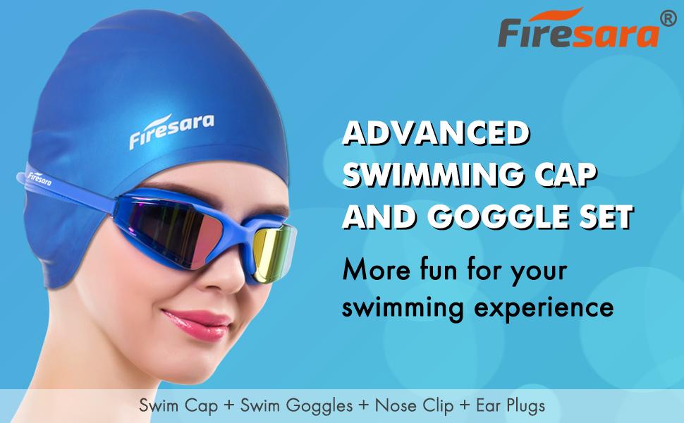 04b6ae5418b7 ladies swim cap kids swimming cap swim goggles women goggles adult swimming  farsighted swim goggles. Firesara 3D silicone ...