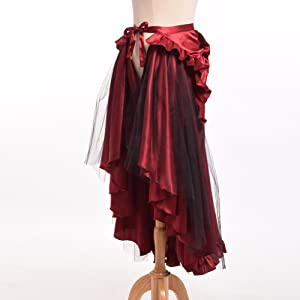 1879b550e Amazon.com: BLESSUME Punk Flounce Bustle Skirt Cape, Black, One size ...