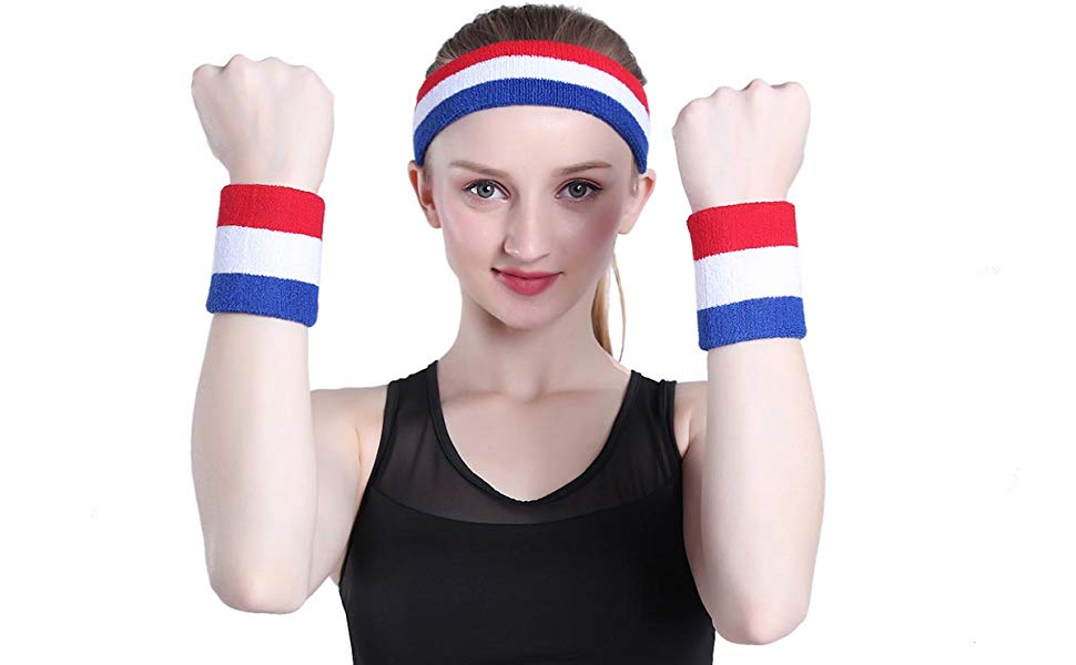 Details about  /OnUpgo Sweatband Headband Sports Sweatbands Terry Cloth Athletic Exercise Sweat