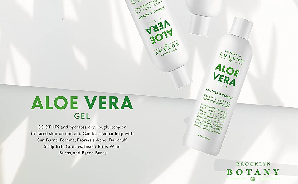 Brooklyn Botany - Aloe Vera Gel - New and Improved Gel Formula - Soothes and Hydrates Dry, Itchy, or Irritated Skin; Great for Skin Blemishes, Flaky Scalp, Sunburn, Rashes - 8 oz