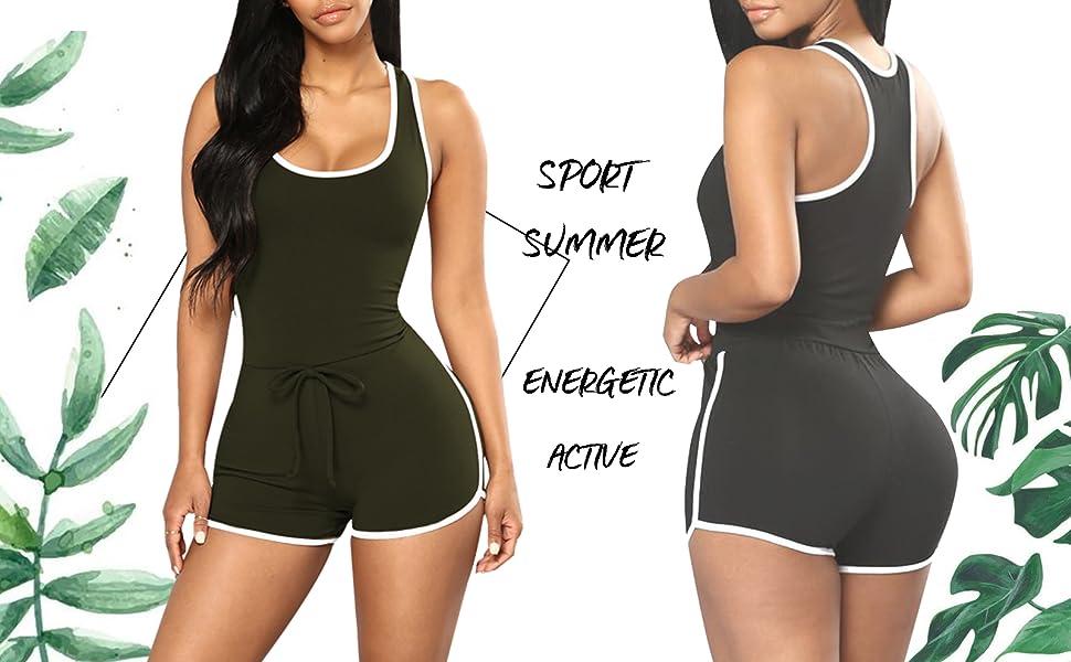 bc8b5fd7ddb0b Selowin Womens Sexy Active Sport Sleeveless Racerback Bodycon Short Romper  Jumpsuit. Short romper