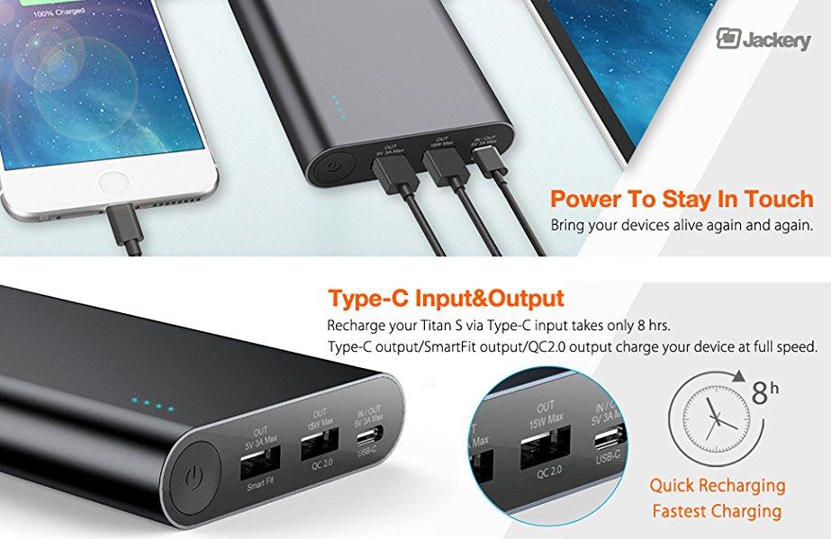 Amazon com: USB C Portable Charger, Jackery Titan S 20100mAh