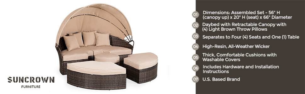 Amazon Com Suncrown Outdoor Patio Round Daybed With