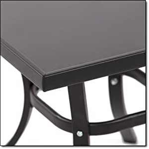 Gorgeous Black Tempered Glass Side Table Provides A Classic Finish To Your  Matching Aluminum Chairs. The Darkened Tempered Glass Top Rests Securely On  A ...