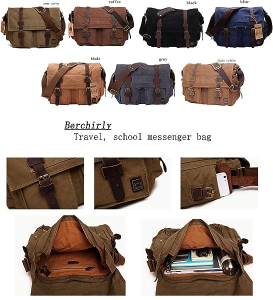 Amazon.com   Berchirly Retro Unisex Canvas Leather Messenger ...
