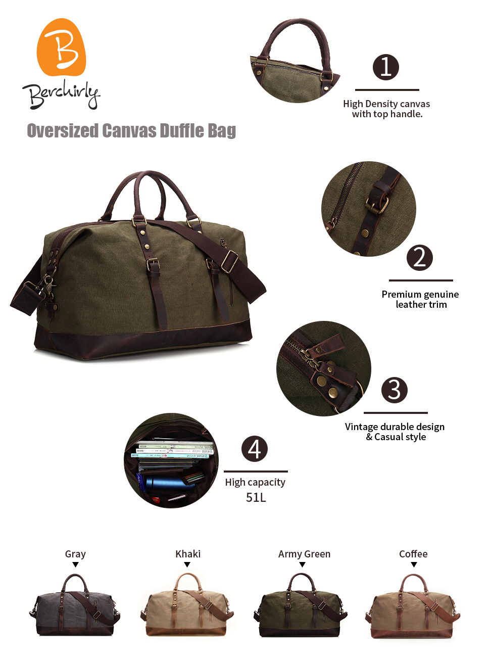 f3f9ccc004 Berchirly Oversized Canvas Leather Travel Tote Duffel Shoulder Handbag  Weekend Bag Outdoor Luggage