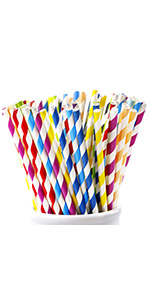 rainbow striped paper straws rose gold red blue green pink straw