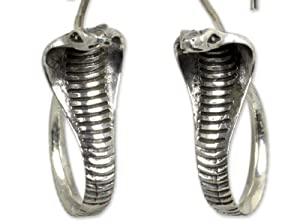 NOVICA .925 Sterling Silver Drop Earrings with Oxidized Finish Cobra Guardian