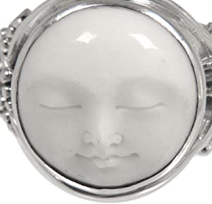 Amazon Com Novica 925 Sterling Silver Handcrafted Cow Bone Cocktail Ring Face Of The Moon Jewelry
