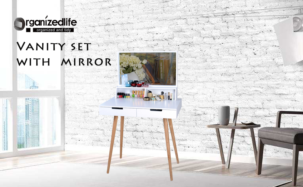 Amazon Com Organizedlife White Large Makeup Vanity Table Desk With