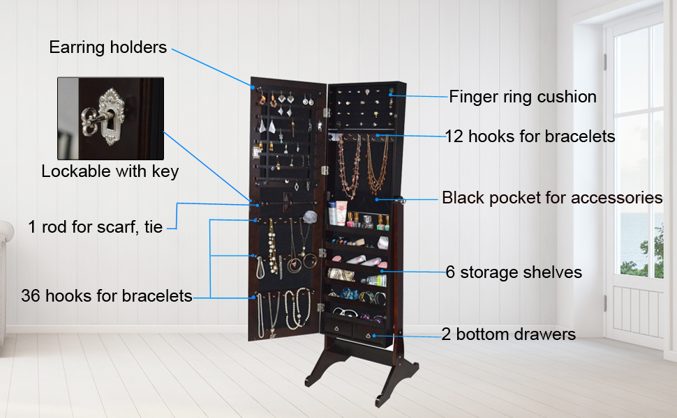 Amazoncom Organizedlife Brown Mirrored Jewelry Armoire Cheval