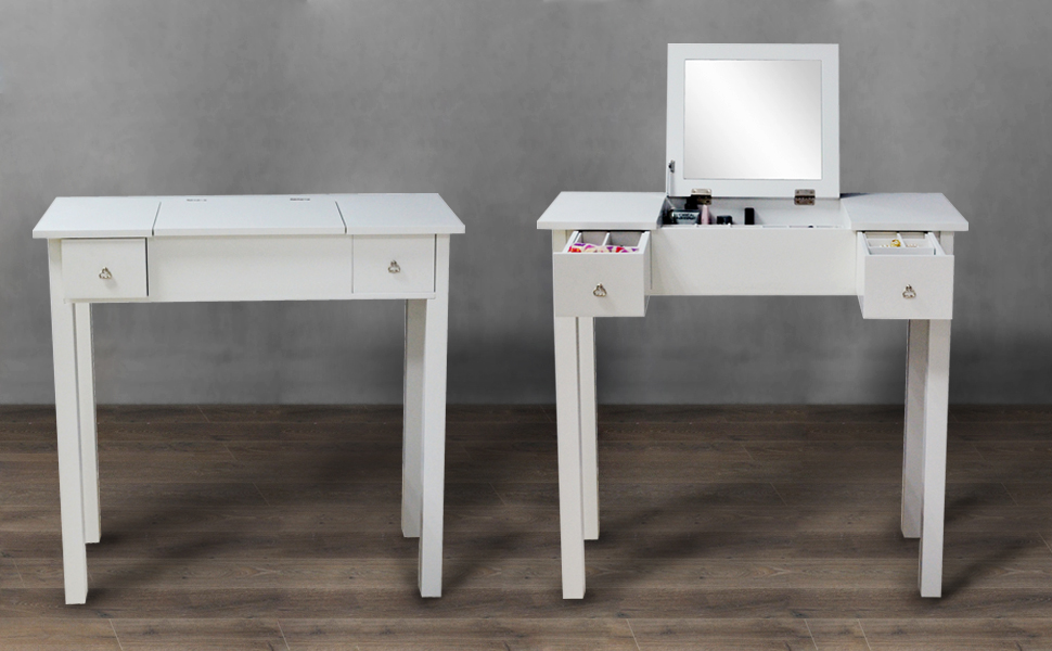Elegant And Stylish White Finish; * Made Of Sturdy And Durable MDF Wood; *  Flip Top Real Glass Mirror; * 2 Drawers Great For Storing All Your Jewelry;