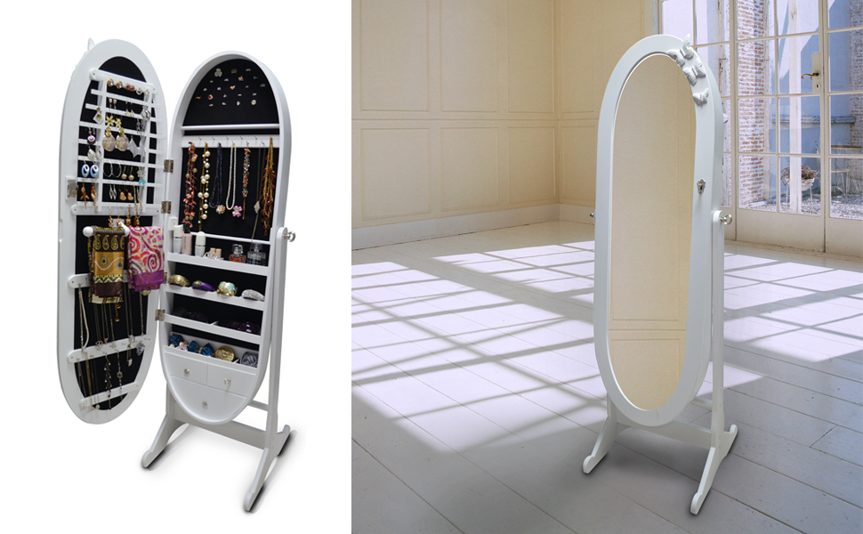 Amazon.com: Organizedlife White Floor Standing Oval Jewelry Cabinet ...
