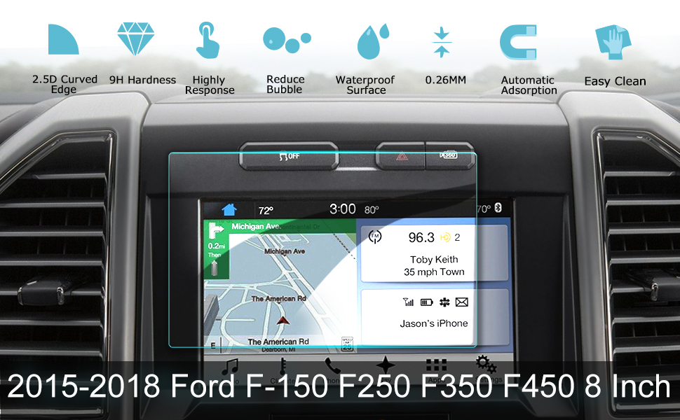 LFOTPP 2015-2019 Ford F-150 F250 F350 F450 sync2 sync3 Coupe Hatchback 8  Inch Car Navigation Screen Protector, 9H Clear Tempered Glass Infotainment