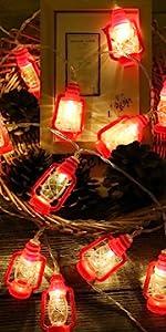 AceList 20 LED Red Lantern Mini Kerosene String Lights