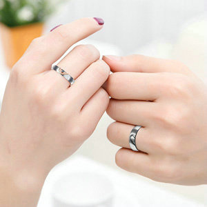 ANAZOZ His & Hers Real Love Heart Promise Ring Stainless