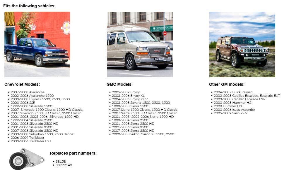Diften 309-A0155-X01 New Accessory Belt Tensioner Express Van Suburban Full Size Truck SaVana Chevy