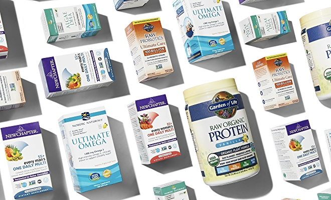 Supplements in packaging on white