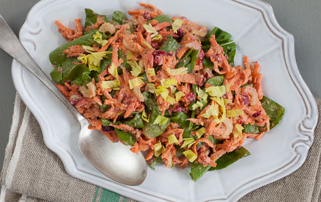 Raw Sweet Potato and Cranberry Salad
