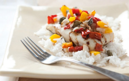 Roasted Halibut with Piquillo Peppers