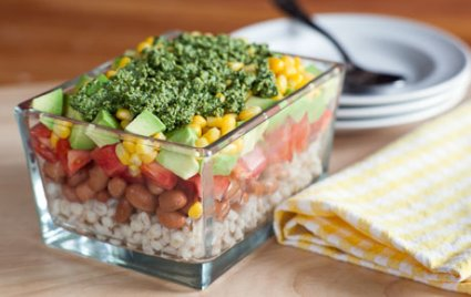 Barley and Bean Salad with Herb Pesto