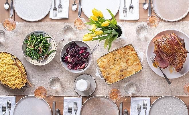 Easter dinner table plates