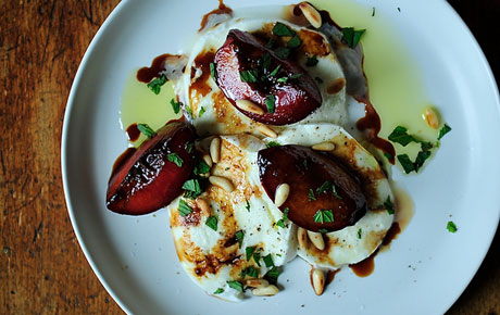 Food52's Buffalo Mozzarella with Balsamic Glazed Plums, Pine Nuts and Mint